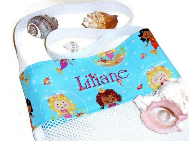 Personalized Bag, Embroidered, Shell Collecting, Mermaid, Beach Tote Bag