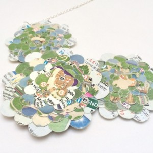 Disney necklace, Paper bib necklace,  Disney Park map, upcycled jewelry, first anniversary gift, paper jewelry. hidden mickey