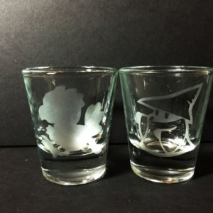 Final Fantasy - Chocobo / Black Mage Etched Shot Glasses