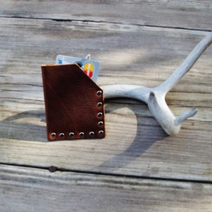Slim Leather Wallet Rustic with Nickel Rivets Credit Card holder by Bret Cali