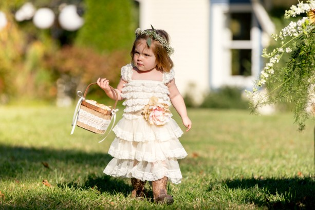 Rustic Burlap + Lace Flower Girl Basket