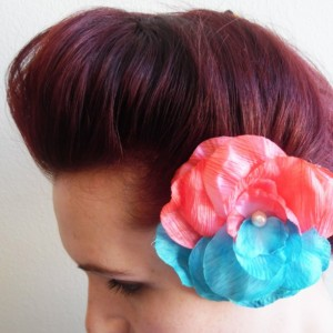2 Multi-colored flower hair clip