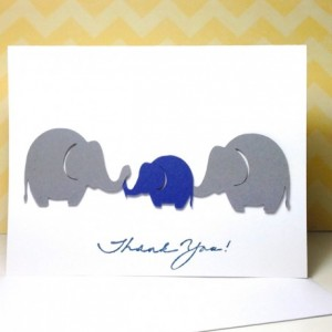 Baby Shower Thank You Card Set, Grey and Navy Elephant Baby Shower Thank You Cards, Handmade Elephant Cards, Baby Shower, Baby Boy, Navy