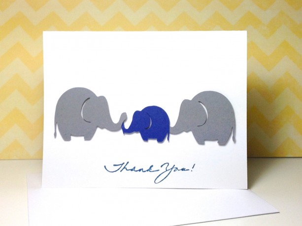 Baby Shower Thank You Card Set, Grey And Navy Elephant Baby Showe