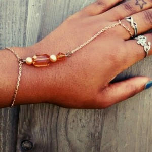 Gold Boho style slave bracelet / wristlet with gems and pearls