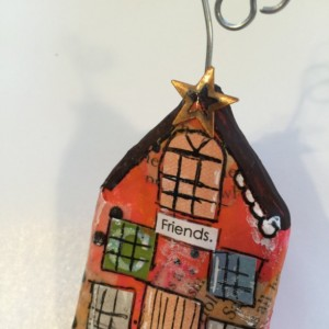 "FRIENDS Whimsical Mixed Media ""Itty Bitty Village Houses"" Pin in Bright Colors, Patterns, Textures. Great Valentine's Gift! Gift for Mom!"