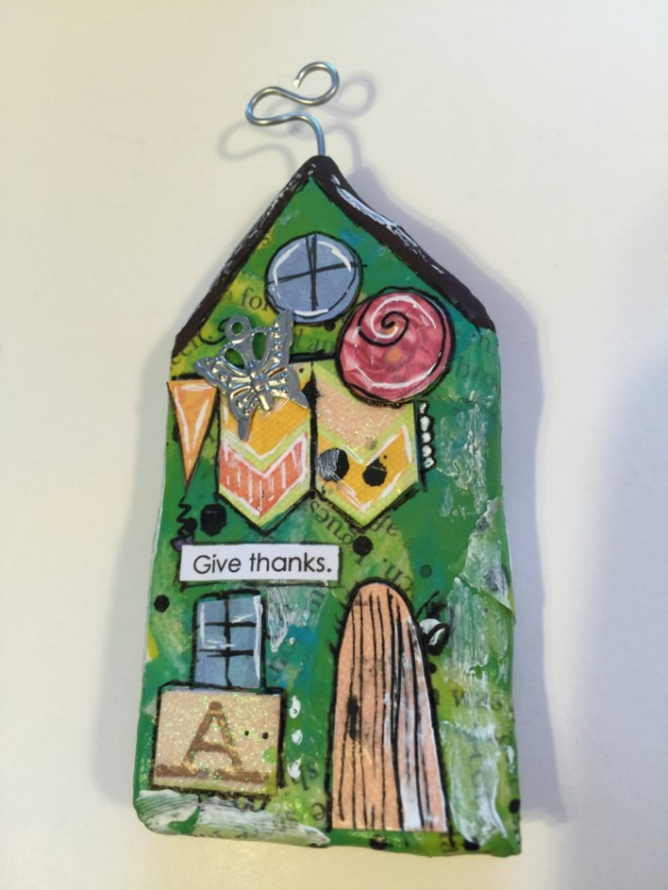 "GIVE THANKS Whimsical Mixed Media ""Itty Bitty Village Houses"" Magnet in Bright Colors, Patterns, Textures. Valentine's Gift! Gift for Mom!"