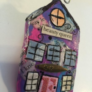 "BEAUTY QUEEN Whimsical Mixed Media ""Itty Bitty Village Houses"" Pin in Bright Colors, Patterns, Textures. Valentine's Gift! Gift for Mom!"