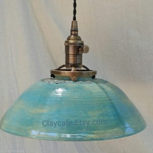 Beautiful Pendant lighting hanging ceiling light Handmade pottery lighting with handstamped textures in a beautiful turquoise