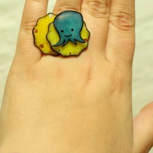Cute octopus adjustable ring, squid jewelry, octopus jewelry, quirky jewelry, funny jewelry