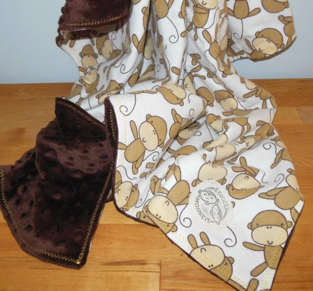 Monkey Minky Toddler Blanket