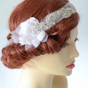 READY TO SHIP,White Petals,Tulle Rhinestone Heapiece,Rhinestone boho headband,flapper headpiece,1920's,Tulle petal bandeau,White Tulle,petal