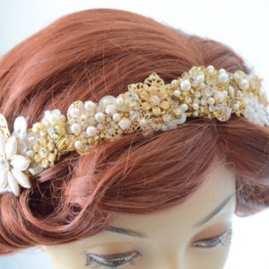 READY TO SHIP, Gold Cluster rhinestone Headpiece,1920s headband,Gatsby headpiece,Crystal rhinestone headband,High Glam headpiece,white lace