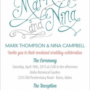 Calligraphy Wedding Invitation and Information Card - Custom Design - Printable or Printed - Hand Drawn Calligraphy Names - Premium Design