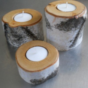 Birch Rustic Tea Light Candle holders - Set of 3 - Natural Home Decor