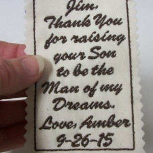 Custom Embroidered Tie Patch. Father in law of the Bride. Wedding gift idea for the Groom, Stepdad, Uncle, Brother, Personalized