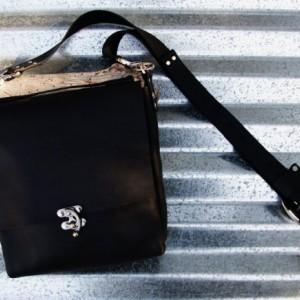 Black Leather Cross Body Bag with Nickel Hardware and Rivets Handstitched Leather Messenger Satchel Bag  Bret Cali Bag Handmade