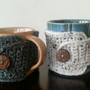 Coffee Mug Cozy Rustic Hunter Green & Aran, 2pc  Gift