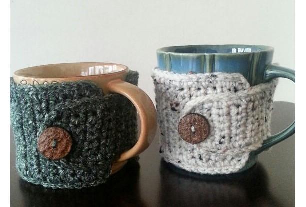 Coffee Mug Cozy Rustic Hunter Green & Aran, 2pc  Gift