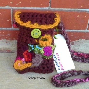 Crochet Purse, Crochet Handbag, Freeform Crochet Clutch, Multicolored Purse With Button, Handbags By Crochet Coma
