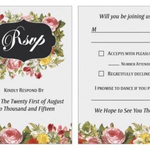 Traditional Wedding Invitation Set - Custom Design - Printable / Printed - Flowers - RSVP Card - Info Card - Menu - Premium Linen Card Stock