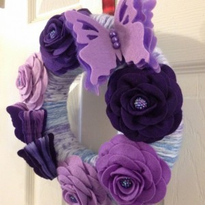 Handmade Purple Butterfly and Rose Wreath