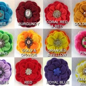 Handmade Camellia Felt Flower Hair Clip - 2 Flowers