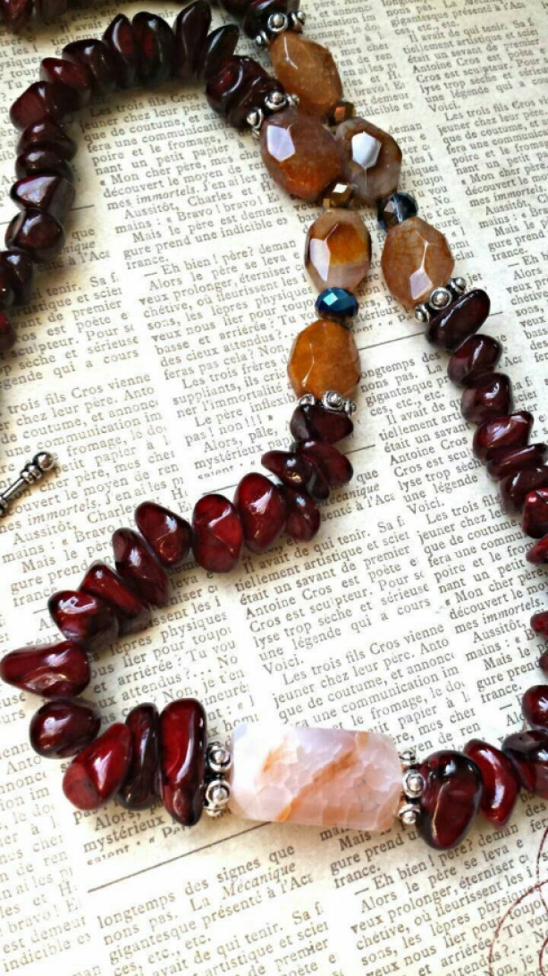 Red Garnet Stone Long Necklace- Earthy Boho Bohemian