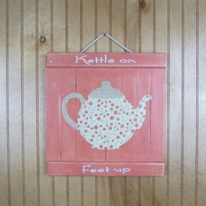 Cottage look teapot themed wooden wall art