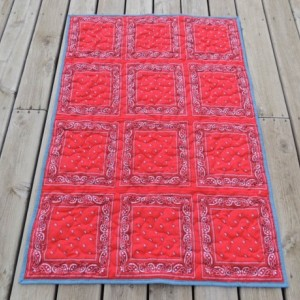 Bandana Quilt Red and Denim Western Cowboy Blanket