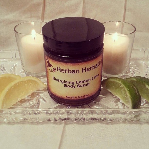 Energizing Body Scrub, lemon body scrub, lime body scrub, citrus body scrub, salt scrub, organic sugar scrub, all natural scrub
