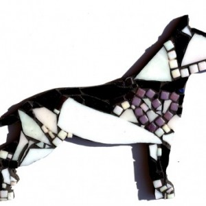 Mosaic Art Glass Tile Staffordshire Terrier Home Decor. Stained Glass Unique Original Mixed Media Artwork of a Pitbull Dog
