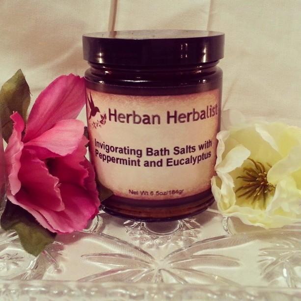 Invigorating Bath Salts, Peppermint bath salts, eucalyptus bath salts, energizing bath, aromatherapy bath, natural bath salts, aromatherapy
