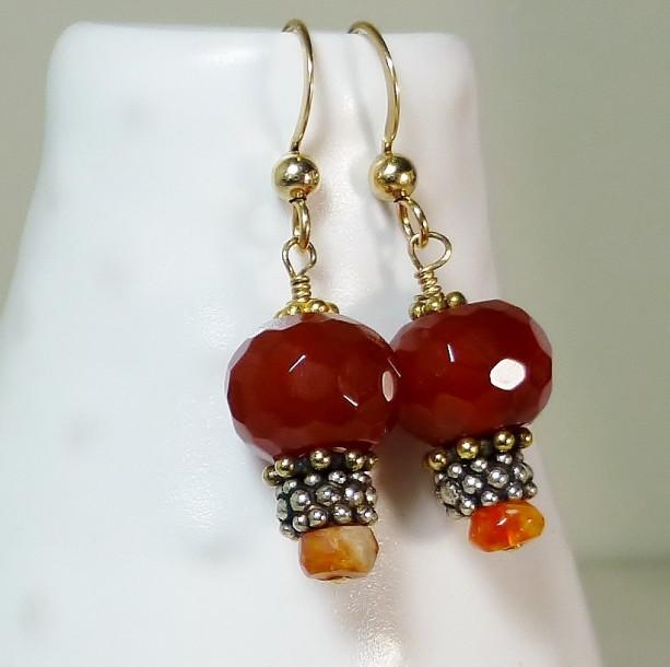Orange Carnelian And Mexican Fire Opal Earrings 14k Gold Fill