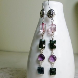 Long linear gemstone earrings,pink topaz,Indigo green tourmaline,February birthstone,amethyst earrings,floral bali silver,Valentines gift