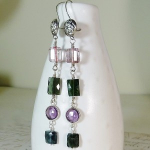 Long linear gemstone earrings,pink topaz,Indigo green tourmaline,February birthstone,amethyst earrings,floral bali silver,Valentines gift