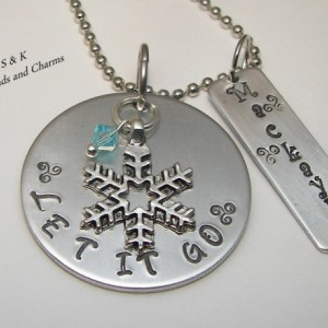 Personalized,  custom Let it go   hand stamped charm, kids necklace