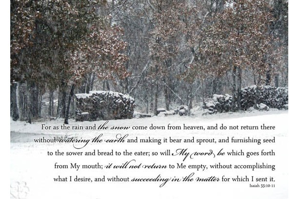 Snowy Scene with Isaiah 55:10-11 Winter scenery Bible art, Christian wall art