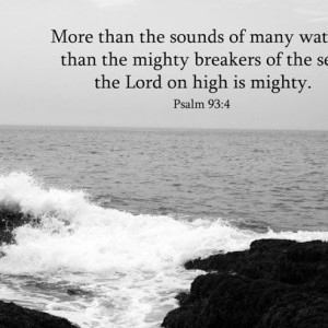 Bible Art - Psalm 93 verse 4 - Black & White Ocean Waves Photo - Scripture art, Christian decor, religious art, Christian wall art