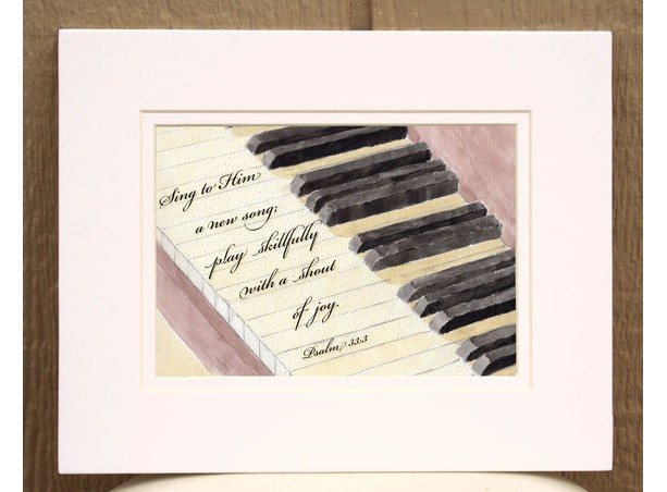 ... Christian Wall Art   Piano Watercolor With Psalm 33 Verse 3   Scripture  Wall Art ...