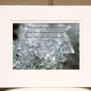 Scripture Art - Isaiah 54 verse 8 - Snowflake Photo - Christian wall art, religious decor, Bible art, Scripture wall art, Christian photo