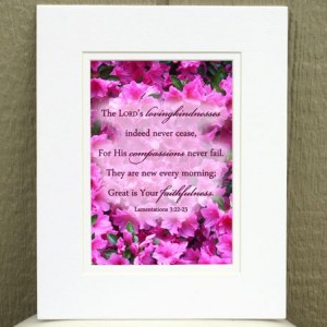 Pink Azalea Photo with Lamentations 3:22-23 - Great is Your faithfulness - Bible Art - Christian Decor - Religious Art  - Christian Art