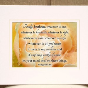 """Yellow Rose Picture with Philippians 4 verse 8 """"Finally, brethren, whatever is true"""" inspirational bible verse wall art home decor Christian"""