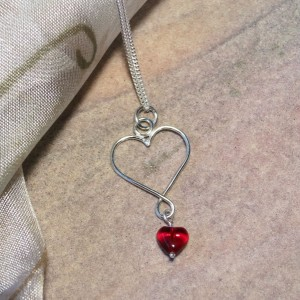 Argentium Silver Heart with Czech Glass Heart