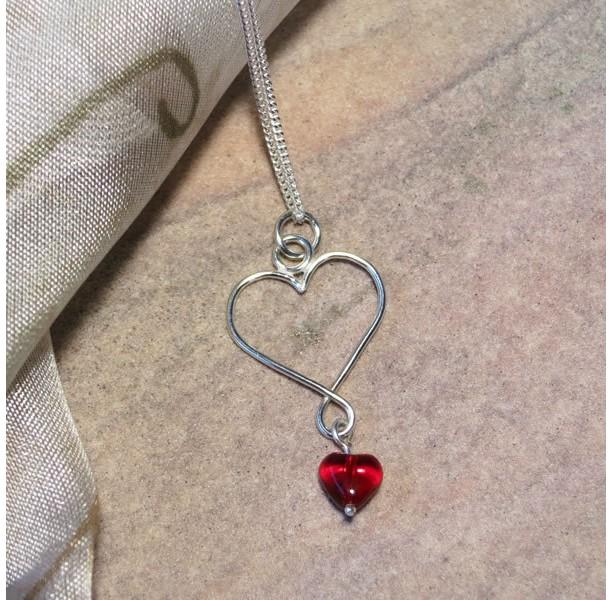 Argentium Silver Heart with Czech Glass Heart