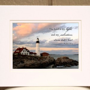 Christian wall art - Psalm 27:1 - Portland lighthouse sunset photo religious nautical home decor Scripture wall art
