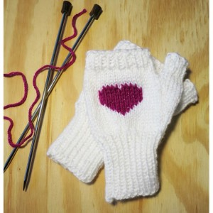 Hand-knitted Magenta Sweetheart Fingerless Mittens