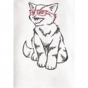 Kitty Love with glasses - Kitty Valentines - Black Work Embroidered Cotton Dish Towel with or without words - Genuine Flour Sack Towels