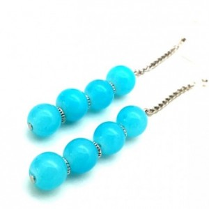 Aqua Chain Earrings, Teal Minimalist, Simple Chain Earrings, Aqua Mod Earrings, Blue Chain Earrings, Aqua Boho Earrings,Trendy Teen Earrings