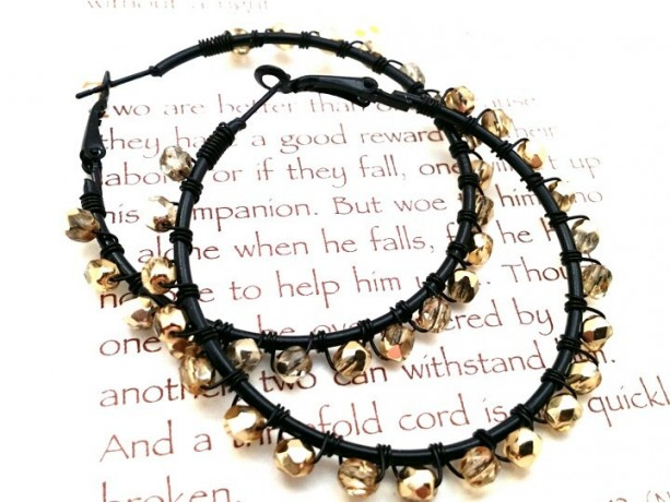 Gold Beaded Hoops Gold Wire Wrap Hoops Black Gold Hoops